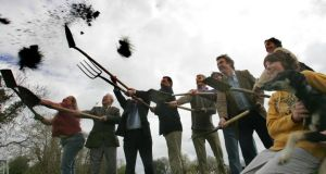 Lives apart: turning the sod on the sustainable community project in Cloughjordan. Photograph: Brenda Fitzsimons