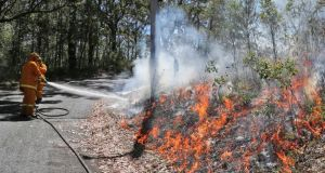 Firefighters spray foam on smouldering bush to help reduce re-flash fires after a blaze swept through Faulcombridge, 85km west of Sydney. Photograph: Rob Griffith/AP