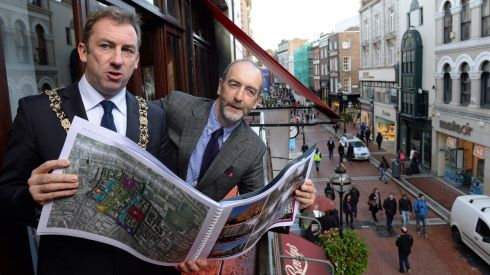 Lord Mayor of Dublin Oisin Quinn with Dublin City planner Dick Gleeson at a reception in Bewleys cafe to give details of the Grafton Street Quarter - Draft Dublin Realm Plan. Photograph: Frank Miller/Irish Times