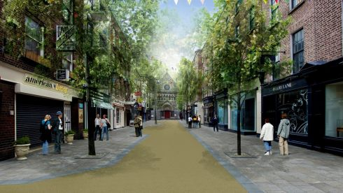Photomontage of improved civic place - Anne St.