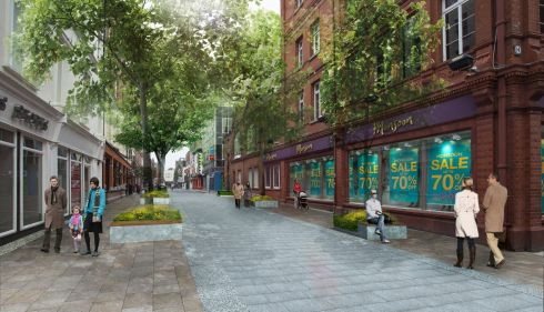Photomontage of improved civic place - Chatham Street