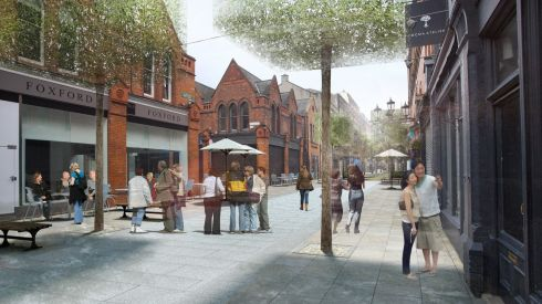 Photomontage of improved civic place - Drury Street