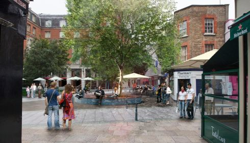 Photomontage of improved civic place - Johnson Place