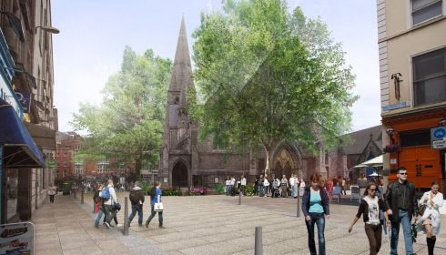 Photomontage of improved civic place - St Andrew's Church