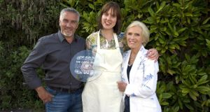 Great British Bake Off winner Frances Quinn (centre) with Paul Hollywood (left) and Mary Berry (right).