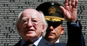 "President Michael D Higgins: said the ""struggle of the poor"" was represented by the murder of Archbishop Romero and the killing of mourners at his funeral. Photograph: Ulises Rodriguez/Reuters"
