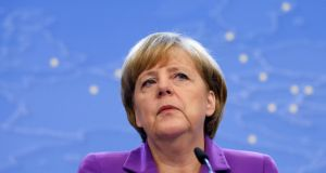 "Germany's chancellor Angela Merkel demanded on Thursday that Washington strike a ""no-spying"" agreement with Berlin and Paris by the end of the year. Photograph: Francois Lenoir/Reuters"