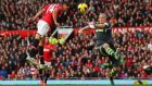 Javier Hernandez heads home  Manchester United's winner in the   Premier League match against Stoke City at Old Trafford. Photograph: Alex Livesey/Getty Images
