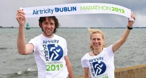 DSD club-mates Joe Sweeney and Maria McCambridge are the favourites to win the Airtricity Dublin Marathon on Bank Holiday Monday. Photograph: Stephen McCarthy/Sportsfile