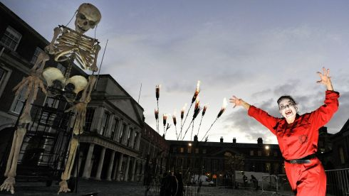 "On Friday Dave Meehan photographed Carrie English, ""fire gardener'"" at Dracula's Fire Garden"" in Dublin Castle - one of the highlights of The Bram Stoker Festival which runs from Saturday 26th to Monday 28th October. Photo:Dave Meehan for The Irish Times"
