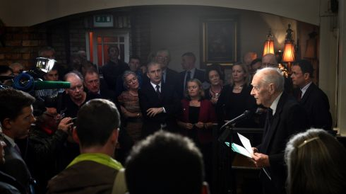 Also on Friday Liam Cosgrave former Taoiseach  spoke on the occasion of the unveiling of a plaque celebrating the birth of  WT Cosgrave  at Kennys bar 174 James's Street. Photograph: Cyril Byrne / The Irish Times