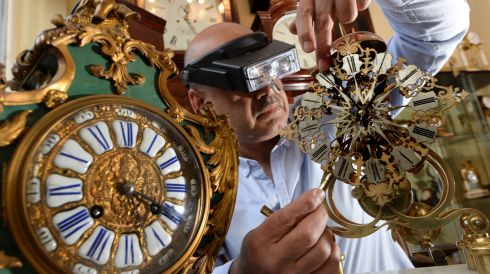 And lest anyone forgot to put their clock back Cyril Byrne photographed antique clocks being serviced by Kevin Chellar on Patrick's Street Dublin as a reminder  that clocks went back one hour early Sunday morning. Photograph: Cyril Byrne / The Irish Times