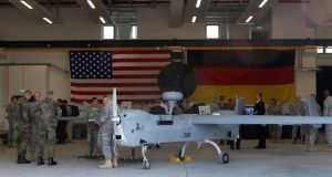 "A Unmanned Aerial System at the US military base in Vilseck-Grafenwoehr in Germany. ""The detachment of warfare feeds into how we are detaching ourselves more and more from the reality of living."" Photograph: Reuters/Michaela Rehle"