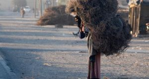 A woman in Deir al-Zor carries tree branches to be used for heating.  Photograph: Reuters