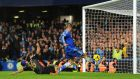 Chelsea's Fernando Torres score's his side's second goal of the game during the Barclays Premier League match at Stamford Bridge. Photograph: Dominic Lipinski/PA Wire