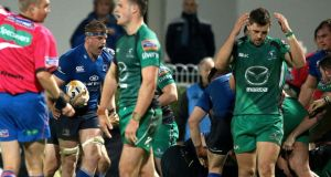 Leinster's Jamie Heaslip celebrates as the referee awards a late penalty try against Connacht. Photograph: Inpho