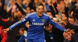 Fernando Torres of Chelsea celebrates scoring their second goal  at Stamford Bridge. Photograph: Getty