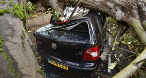 A car is crushed under a fallen tree due to the storm affecting parts of the UK, in Hornsey, north London. Photograph: Yui Mok/PA Wire