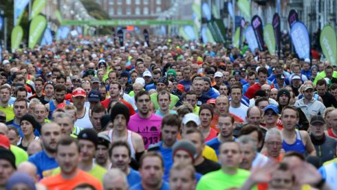 The start of the  Airtricity Dublin  Marathon. Photograph: Cyril Byrne/The Irish Times