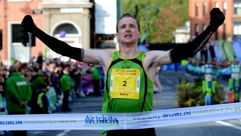 Sean Hehir winning the marathon. Photograph: Cyril Byrne/The Irish Times