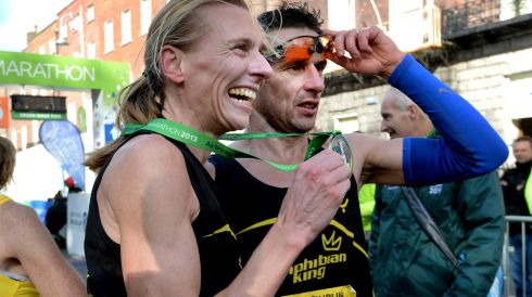 Maria Mc Cambridge with her husband Gary Crossin at the finish. Photograph: Cyril Byrne/The Irish Times