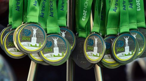 Medals at the ready ahead of the marathon this morning. Photograph: Cyril Byrne/The Irish Times