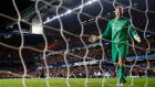 Joe Hart winces after the Manchester City goalkeeper's latest calamitous episode saw his side lose out in the last minute to Chelsea at Stamford Bridge on Sunday. Photograph: Reuters