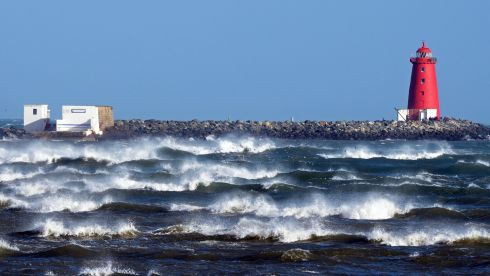 High winds and white horses at Poolbeg, Dublin. Photograph: Eric Luke/The Irish Times