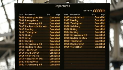 A general view of the cancellations on the departure board at Waterloo Station. Photograph: Jonathan Brady/PA Wire