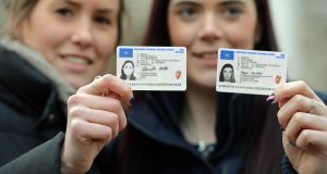 Daniela Reicke (left) Cork, and Aoife Murphy, Blarney, Co. Cork at the launch of the new credit-card sized driving licenses at Government Buildings. Photograph: Eric Luke/The Irish Times.