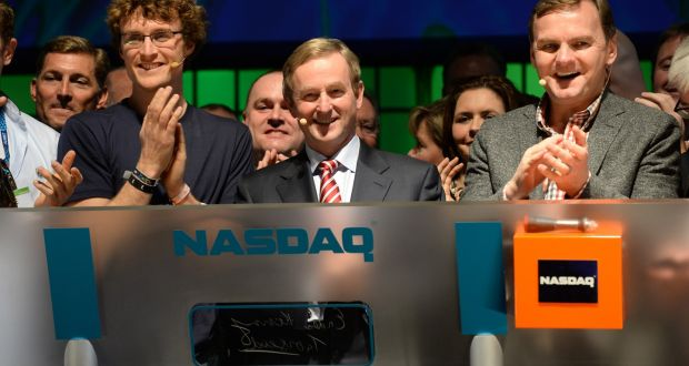 Taoiseach Enda Kenny TD rings Nasdaq bell  for first time in Ireland with Executive vice president NASDAQ , Bruce Aust, and Paddy Cosgrave, founder Dublin Web Summit. Photograph: Dara Mac Dónaill / The Irish Times