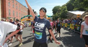 Rosanna Davison: finishing the Flora Women's Mini Marathon in Dublin. Photograph: Arthur Carron/Collins