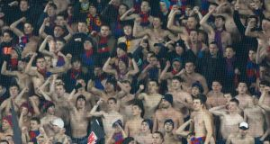CSKA Moscow fans support their team during their Champions League match against Manchester City. Photograph: Maxim Shemetov/Reuters