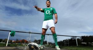 Irish International Rob Kearney at Anglesea Road yesterday where he promoted the Guinness Plus mobile app in advance of Ireland's autumn internationals. Photo: Billy Stickland/Inpho
