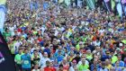 Participants at the beginning of Monday's Airtricity Dublin Marathon.  Photograph: Cyril Byrne/The Irish Times.