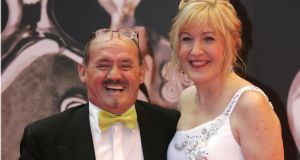Brendan O'Carroll and his wife, Jenny Gibney. She plays his daughter in the award-winning Mrs Brown's Boys. Photographer: Dara Mac Dónaill/The Irish Times