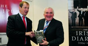 Alastair Campbell with former taoiseach Bertie Ahern at the launch of Mr Campbell's book The Irish Diaries last night. Photograph: Aidan Crawley