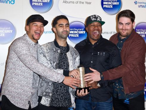 Piers Agget, Kesi Dryden, Amir Amor and DJ Locksmith of Rudimental attend the Barclaycard Mercury Prize at The Roundhouse in London. Photograph: Zak Hussein/Getty Images