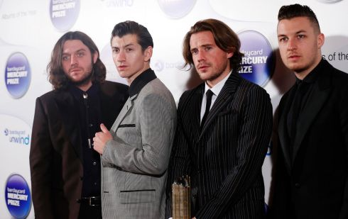 Nick O'Malley, Alex Turner, Jamie Cook and Matt Helders of Arctic Monkeys. Photograph: Olivia Harris/Reuters