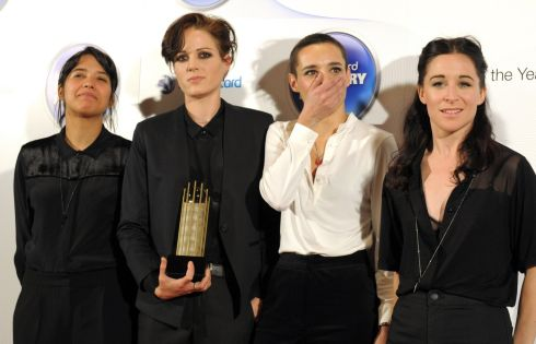 Ayse Hassan, Gemma Thompson, Jehnny Beth and Fay Milton of Savages. Photograph: Anthony Devlin/PA Wire
