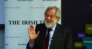 Lord Puttnam speaking at a Dublin Chamber Business Breakfast hosted by The Irish Times in Dublin. Photograph: Frank Miller / THE IRISH TIMES