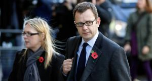 Andy Coulson, former editor of the News of the World  and ex-press chief of British prime minister David Cameron arrives at the Old Bailey. Photograph: Matthew Lloyd /Bloomberg.