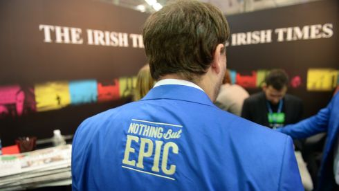 Nothing But Epic at The Irish Times stand. Photographer: Dara Mac Donaill / THE IRISH TIMES