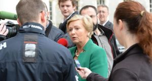 Frances Fitzgerald, Minister for Children and Youth Affairs, speaking to media about the Roma Children incidents. Photograph: Alan Betson
