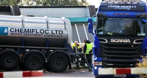 Workers deliver water treatment chemicals to the Ballymore Eustace water treatment plant in Co Wicklow which is experiencing production difficulties. Nightly restrictions affecting more than 1amillion people in  Dublin, Kildare and Wicklow came into force on Wednesday night. Photograph: Colin Keegan/Collins Dublin.