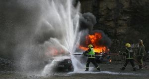 Cafs demonstration: Gavin Barnett (far right) conducts a compressed air flow system training exercise with Arklow Fire Brigade in 2008. Photograph: Garry O'Neil
