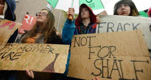 "A protest against fracking in Scotland last month. Fears that groundwater will be contaminated in shale gas drilling are ""unlikely"" to be realised, a major official British inquiry has said. Photograph:  Mark Runnacles/Getty Images"