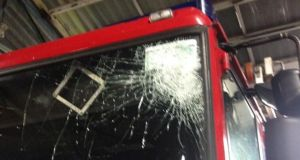 The smashed windscreen of a truck at one Dublin fire station following a Halloween call out.