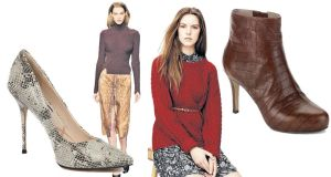 (L-R) Snake effect courts, €195, Lucy Choi at Arnotts. Carven featured fitted sweaters on the catwalk; Aran 'Eleanor' sweater, €120 Hobbs, Dundrum Town Centre; Mock Croc ankle boot, €140, Rockport.