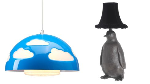 Skojig pendant lamp, €18.50, Ikea.  Penguin table lamp, €127.50, Debenhams.